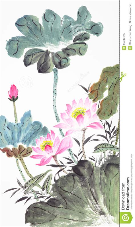 abstract lotus traditional chinese painting stock image