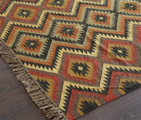 Tribal Rugs Uk Rugsville Diamond Pattern Brown Jute Amp Wool Kilims 13645