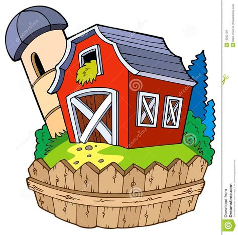 scheune comic barn with fence stock vector illustration of