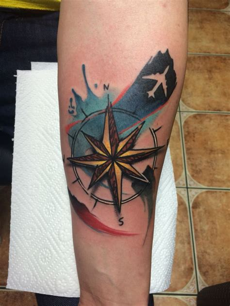 compass tattoo airplane 26 best tattoo images on pinterest watercolor tattoos