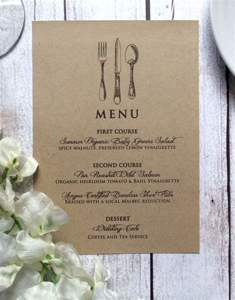 wedding menu card vintage inspired wedding menu cards rustic wedding kraft dinner menus