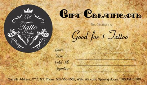 printable tattoo voucher tattoo gift certificate template gift certificate