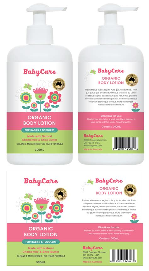 Baby Body Lotion Label Template Lotion Labels Templates