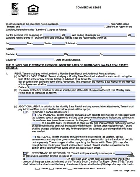lease agreement template pdf free south carolina commercial lease agreement form pdf