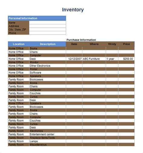 retail store inventory template inventory spreadsheet template 5 free documents