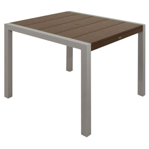 Composite Patio Table Marco Island 36 In Cafe Brown Commercial Aluminum Bar Height Patio Dining Table