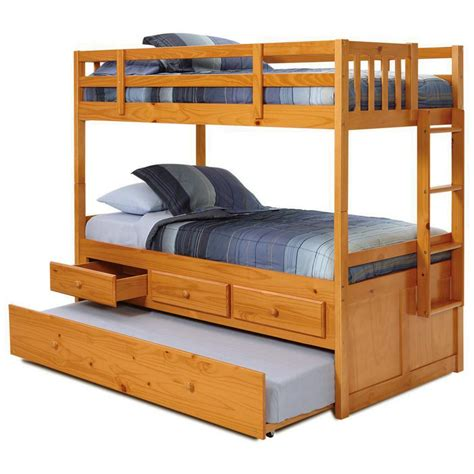 Ranjang Kayu No 2 mission storage bunk bed trundle unit honey finish
