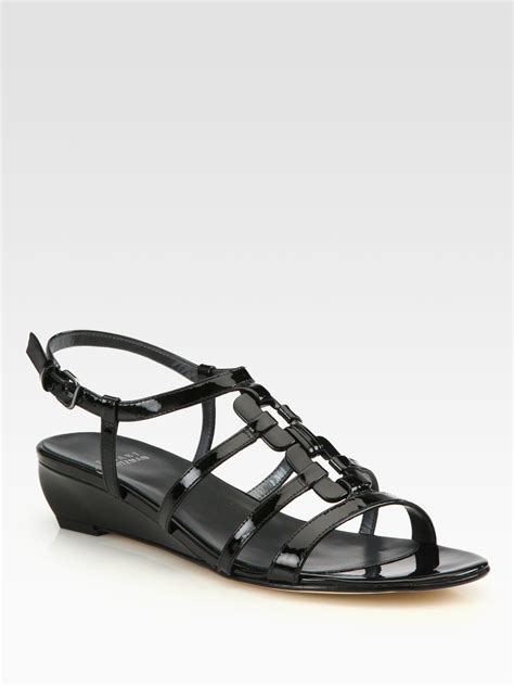 stuart weitzman nukeywest patent leather wedge sandals in