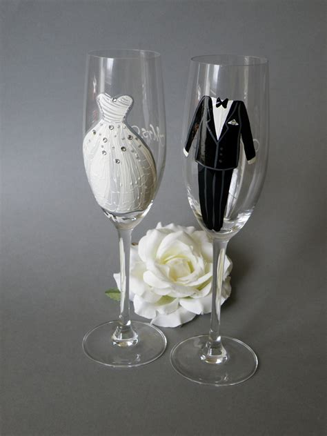 Hand painted Wedding Toasting Flutes Set of 2 by pastinshs
