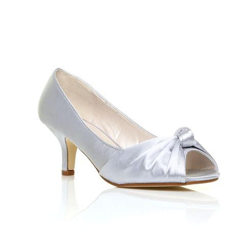 Bridal Pumps Shoes by Classic Bridal Mid Heel Satin Shoes Peep Toe Pumps Womens