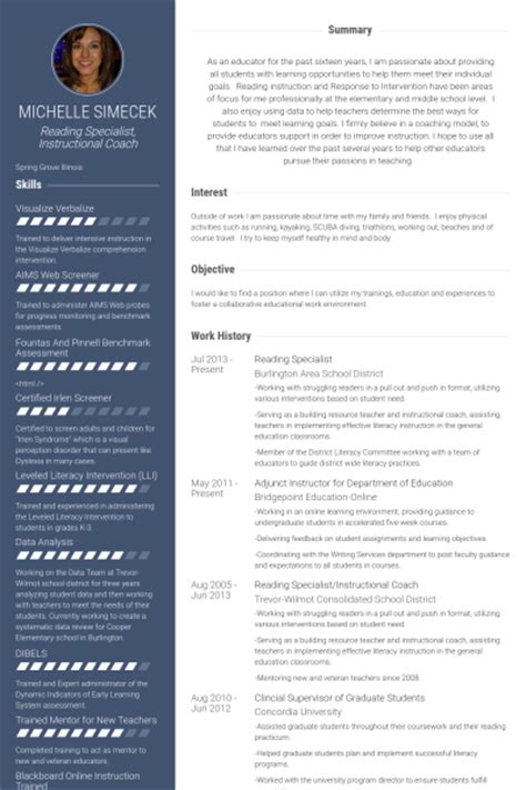 Reading Specialist Resume by Specialist Resume Sles Visualcv Resume Sles Database