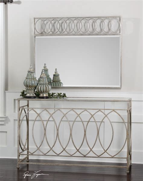entry table with matching mirror aniya console table item 24306 antiqued silver leaf iron