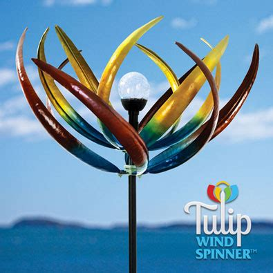 solar light wind spinners gifts solar multi color tulip wind spinner
