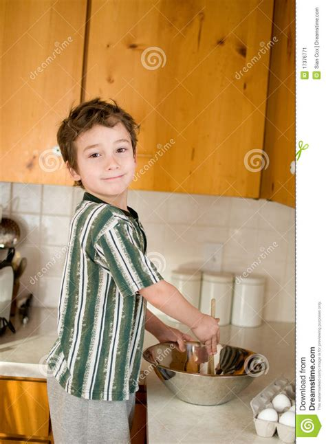 boy in the kitchen baking stock image image 17376771