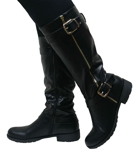 womens flat biker boots leather style knee high chunky block heel
