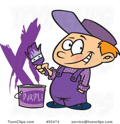 purple paint law cartoon painter boy with a bucket of purple paint 55474