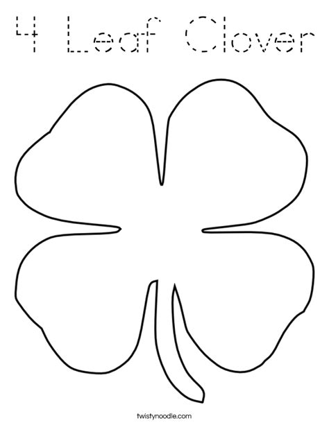 Coloring Page 4 Leaf Clover by 4 Leaf Clover Page Coloring Pages
