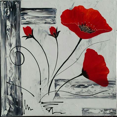 Modele Peinture Acrylique tableau moderne coquelicots en et noir peinture