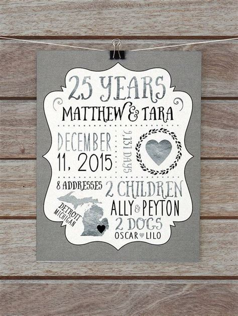 Wedding Anniversary Gift For A Husband by 25 Year Anniversary Gift Silver Wedding Anniversary