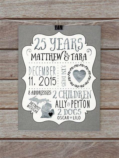 25 Year Anniversary Gift, Silver Wedding Anniversary