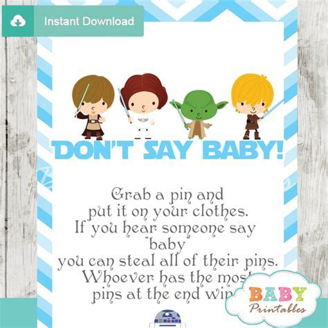 Blue Chevron Star Wars Baby Shower Games   D205   Baby Printables