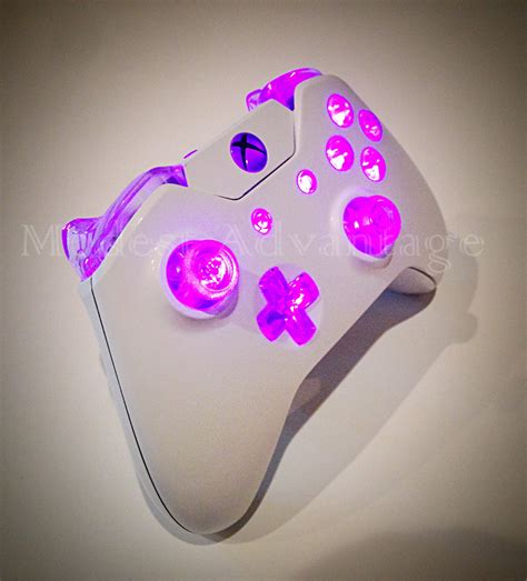 Gamis Pink 1 xbox one controller pink led mod white shell by