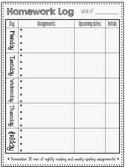 homework template for teachers printable reading log for graders identifying