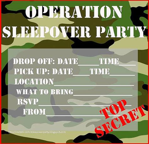 printable gi joe birthday cards invitations for sleepover party