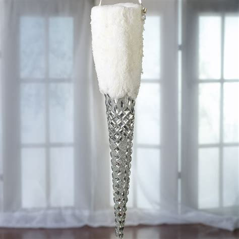 large snowy gem icicle ornament on sale