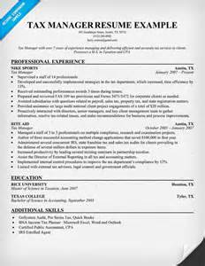 tax manager resumes