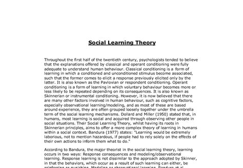 Learning Theory Essay by Social Learning Theory A Level Psychology Marked By Teachers