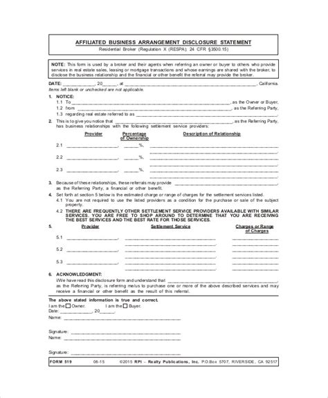 8 Free Sle Business Agreement Forms Sle Templates Affiliate Disclosure Template