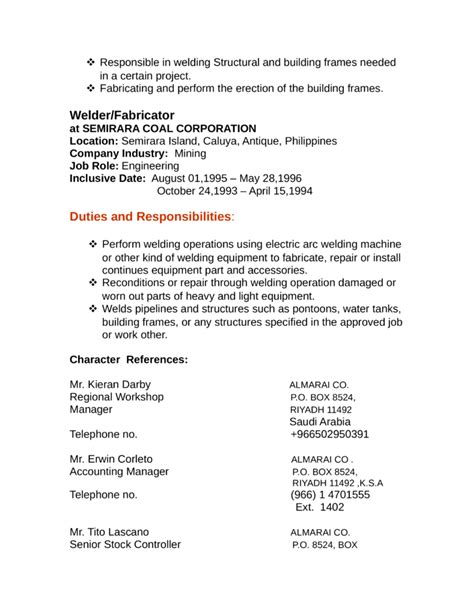 Fabricator Welder Sle Resume by Distribution Lineman Resume