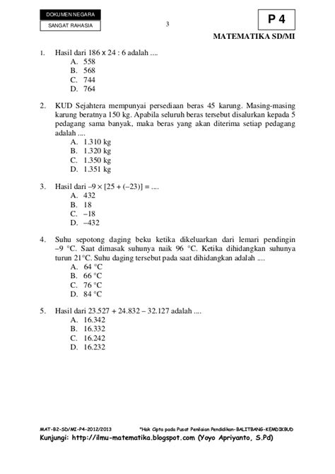 1 Paket Kunci L soal un dan kunci jawaban matematika sd 2012 2013