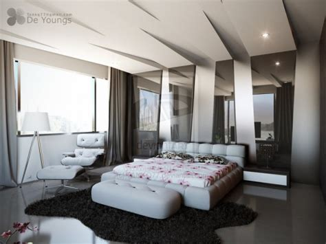 bedroom with black ceiling black white grey gray gloss wall treatment modern bedroom