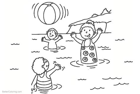 beach ball coloring pages kids playing   water