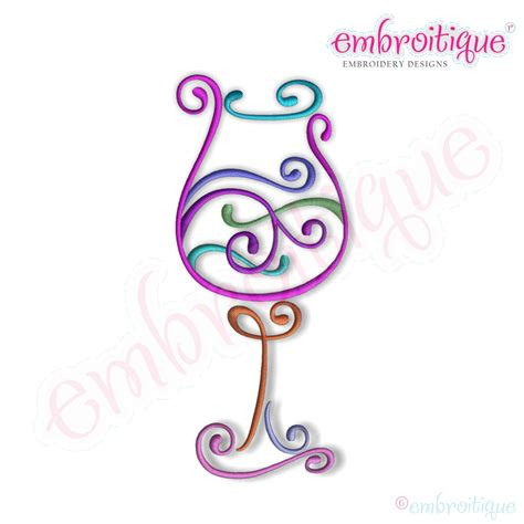 Embroidery Design Wine Glass | embroitique curly wine glass 3 embroidery design