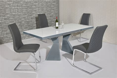 White Glass Dining Table And 6 Chairs White Glass Grey Gloss Dining Table 6 Grey Chairs Homegenies