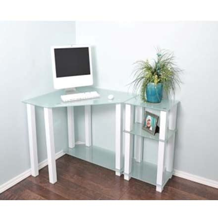 Corner Computer Desk With Extension by Rta Frosted Glass Corner Computer Desk With 20 Inch