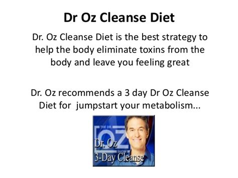 Dr Oz Clean Detox Menu by Dr Oz Cleanse Diet