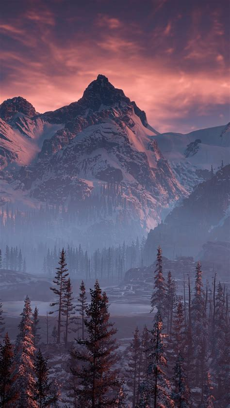 horizon  dawn nature mountains trees sky yj wallpaper