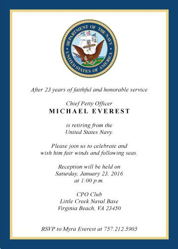 military retirement invitation created by v