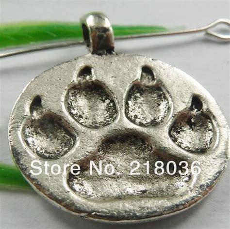 antiques silver bronze collar tag pet paw prints charms pendants for bracelet necklace