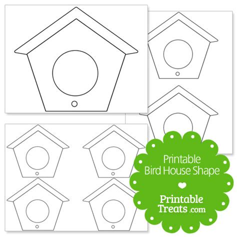 printable bird house shape template printable treats com
