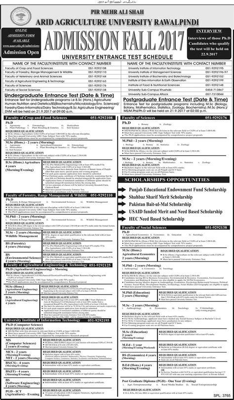 Arid Agriculture Fee Structure Mba by Arid Agriculture Rawalpindi Admission Fall 2017