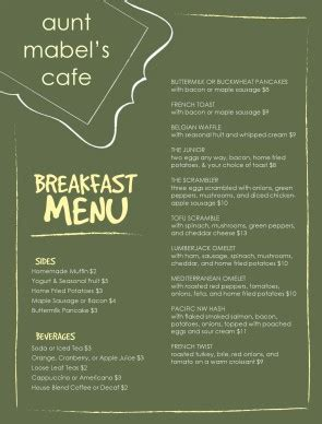 Menu Of Breakfast Template Archive Breakfast Menu Template Word