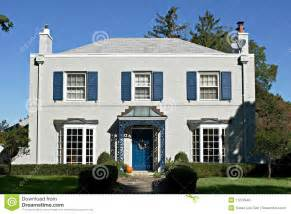 graues haus gray house with blue accents stock photo image 11274540
