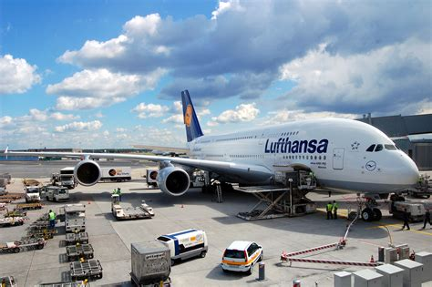 libro air bridge file airbus a380 800 of lufthansa in frankfurt germany