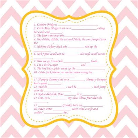 Baby Shower Nursery Rhyme Fill In The Blank fill in the blank nursery rhyme baby shower shower