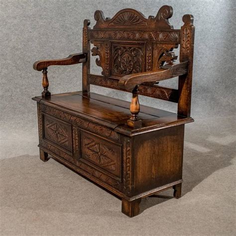 oak settle bench carved oak settle bench pew hall seat with locker english